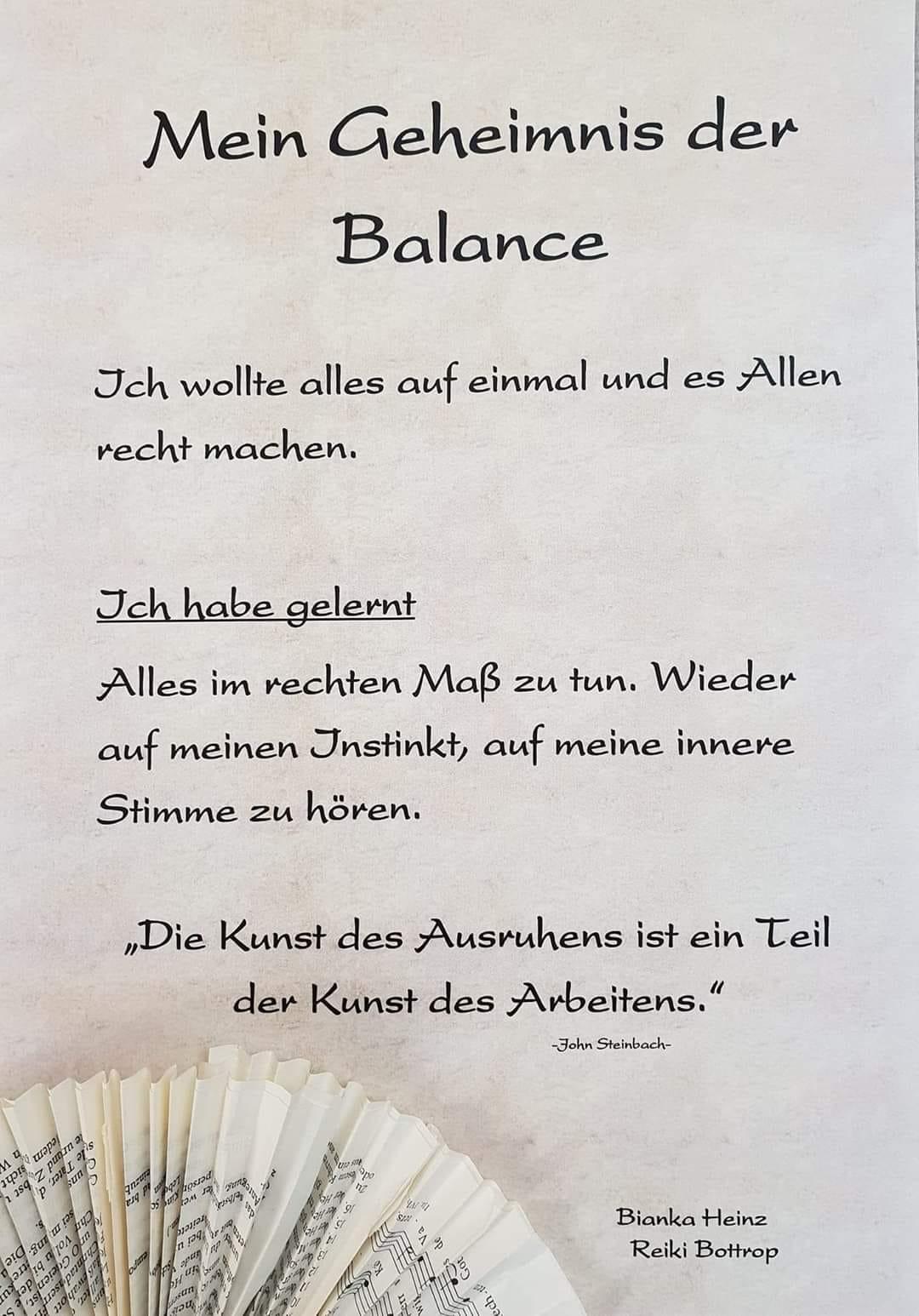 Mein Geheimnis der Balance